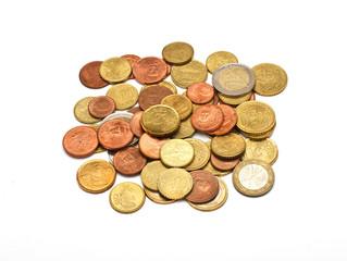 A few euros coins, isolated