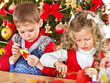 Kids making decoration for Christmas.