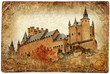 medieval castle of Spain - retro picture