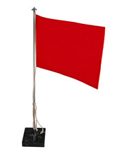 Stylish office bright red flag or red pennant with vintage chrom