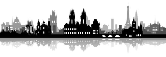 Skyline Prag Häuser-Schichten