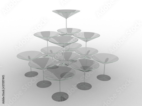 Glass wine glasses with colored liquid №12