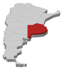 Map of Argentina, Buenos Aires highlighted