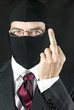 Businessman In Balaclava Gives Camera The Finger