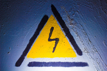 Electric danger Signal lightning in the blue metal texture