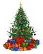Decorated Christmas tree with heap of color gift boxes