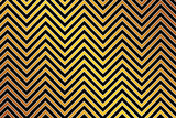 Trendy chevron patterned background, golden, black and white poster
