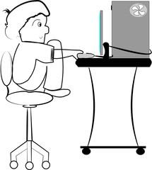 lil boy on computer