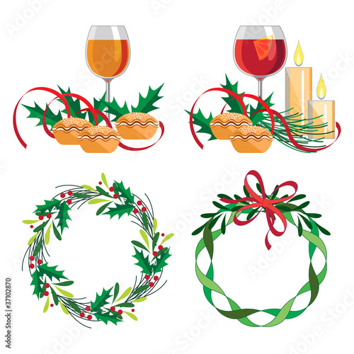 Christmas wine, mince pie and wreath set
