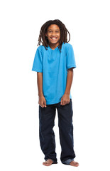 funny african boy isolated on white