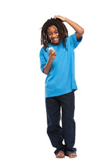 funny rasta boy playing with cellphone