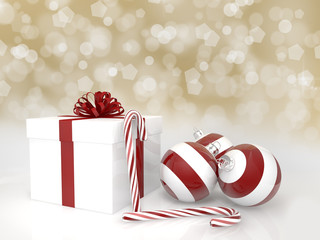 3d Rendering Geschenk,Christbaumkugeln, Zuckerstangen