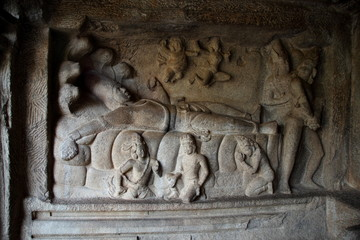 Lord Vishnu- Relief Sculpture at Mamallapuram,India