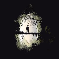 homme forêt pont passerelle nature