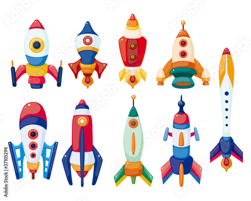 cartoon spaceship icon set