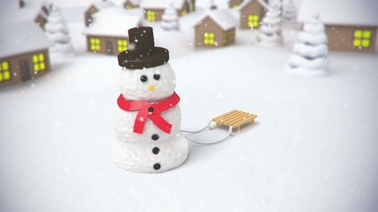 snowman on village background