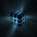 Fototapety blue light beams from puzzle cube