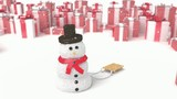 snowman on a presents background