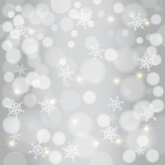 Silver background with snowflakes and stars