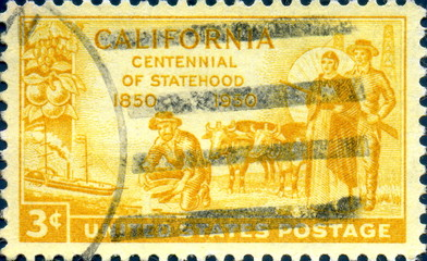 California. Centennial of Statehood. 1850. US Postage.