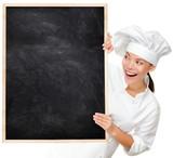 Fototapety Chef showing blank menu sign