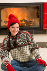 Fireplace winter Xmas young woman wear sweater