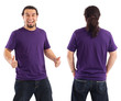 Excited male with blank purple shirt