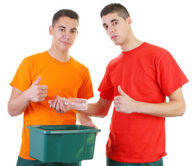 two guys recycling