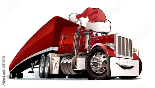 Foto op Aluminium Cartoon cars Vector Christmas truck