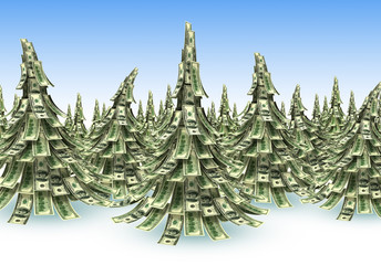 Forest  of Dollars banknotes made as Christmas tree