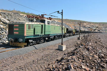 Loading of iron ore on the train