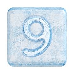 Ice cubes Font. Number 9