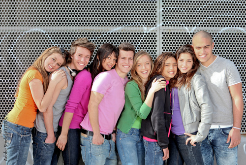 group of diverse students or teens on campus