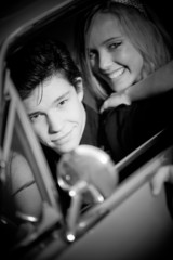 retro vintage couple in car