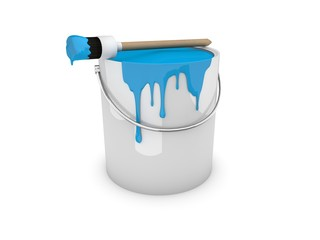 Farbeimer, Farbtopf mit Pinsel blau / cyan