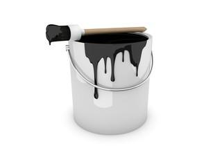 Farbeimer, Farbtopf mit Pinsel schwarz / black