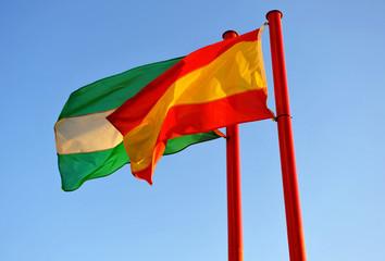 Bandera de España y Andalucía