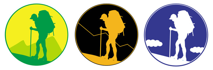 Man with a backpack going up the hill. Emblem