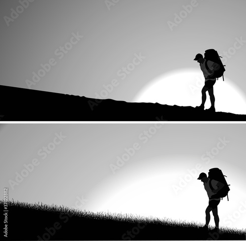 Silhouette of man with a backpack. Vector. Separate layers
