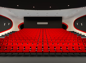 Perspective of Cinema red seats in cinema audience hall