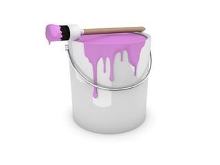 Farbeimer, Farbtopf mit Pinsel rosa