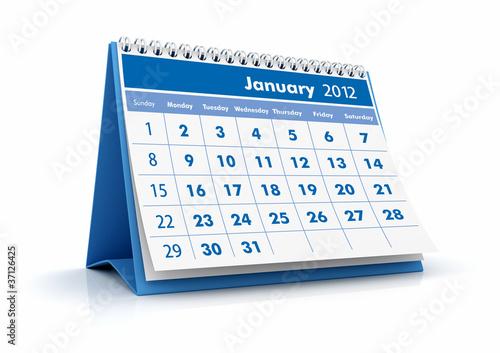 Calendario 2012. Enero