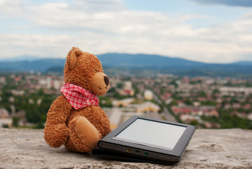Electronic book reader laying outdoors