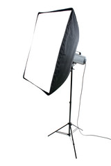 Studio flash on white background
