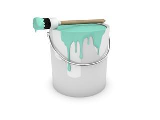 Farbeimer, Farbtopf mit Pinsel mintgrün