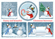 Set of Christmas frames. Funny Snowman. vector illustration
