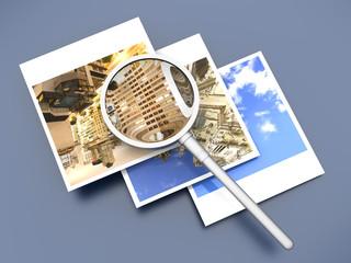 Lupe und Sofortbild Fotos