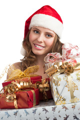 Santa woman with Christmas gifts