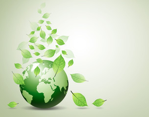 world and green leaves