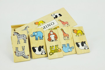 dominoes with pictures of animals on a white background
